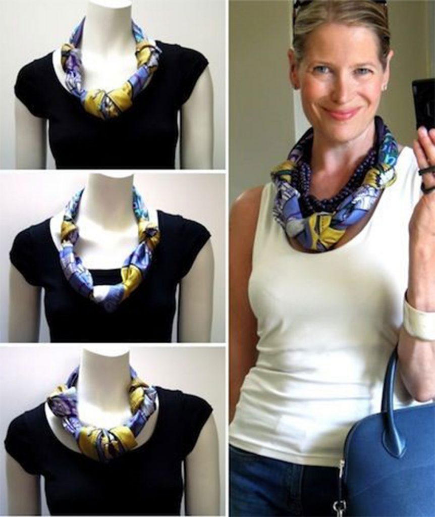 Knotted Necklace - 7 ways to style your Pashmina scarf