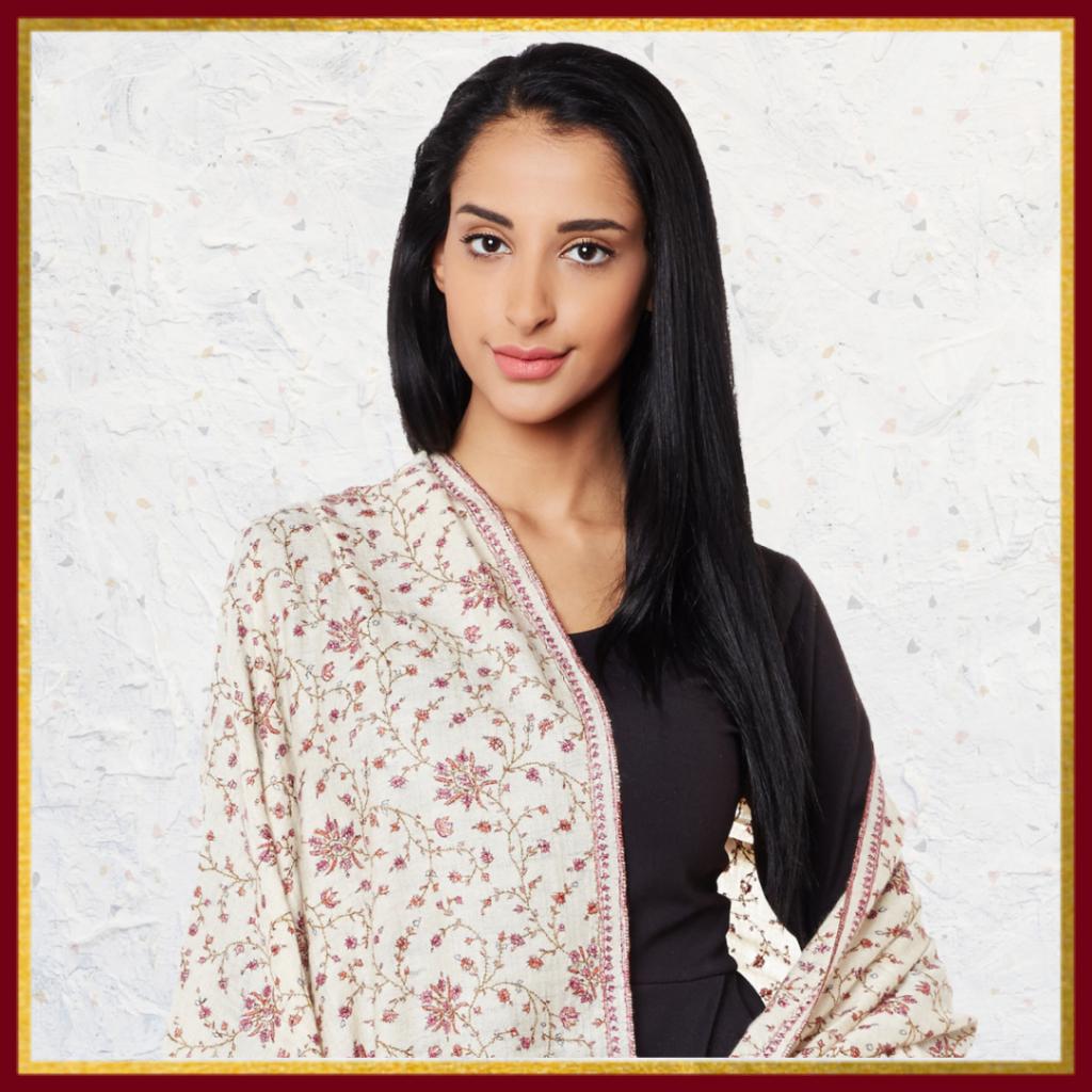 Ivory Jamawar Pashmina Shawl