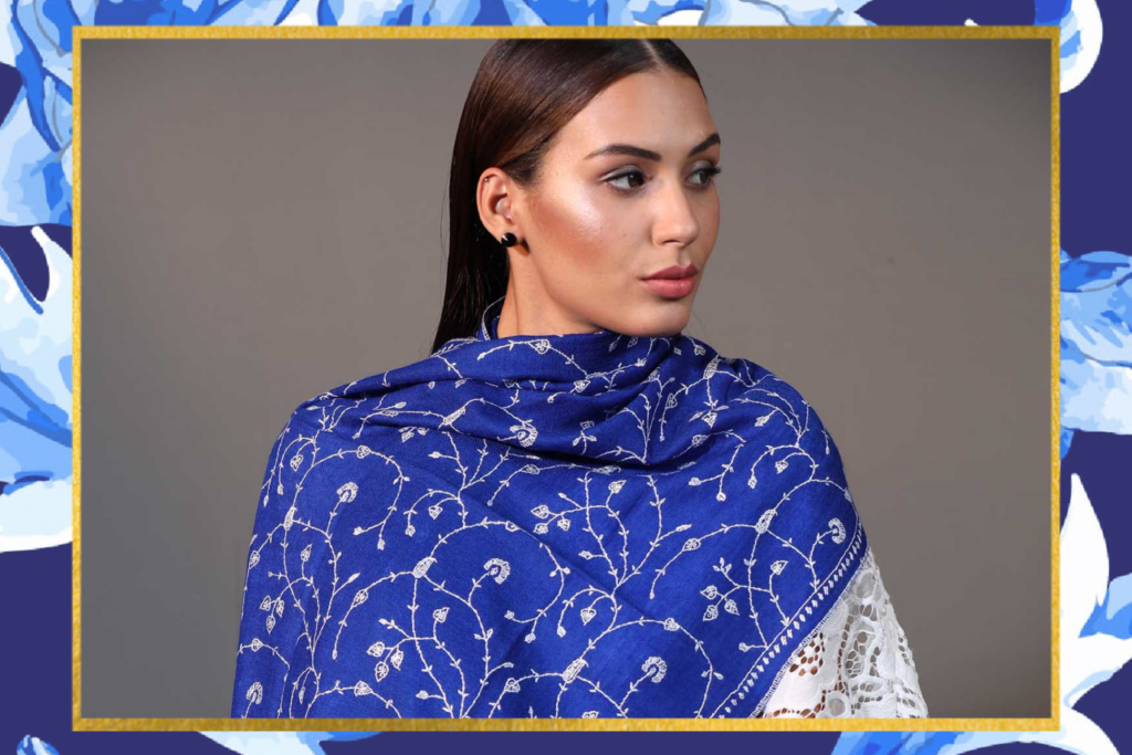 Lapis Blue Embroidered Cashmere Wrap