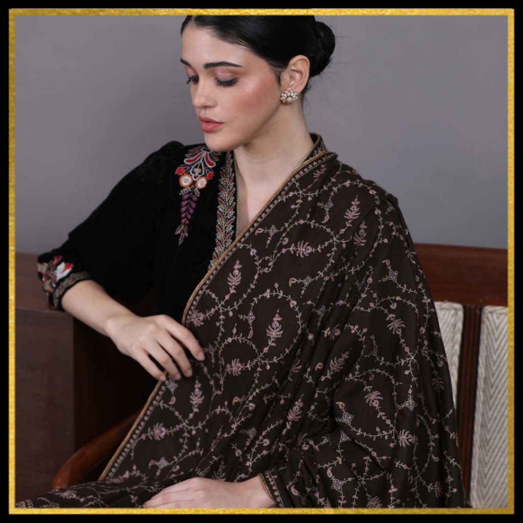 Carob Hand Embroidered Pashmina Shawl