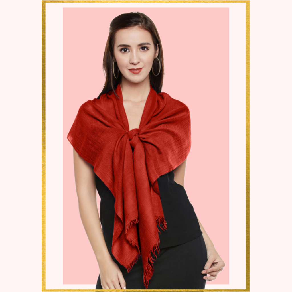 Red Cashmere Scarf in Knotted Fashion