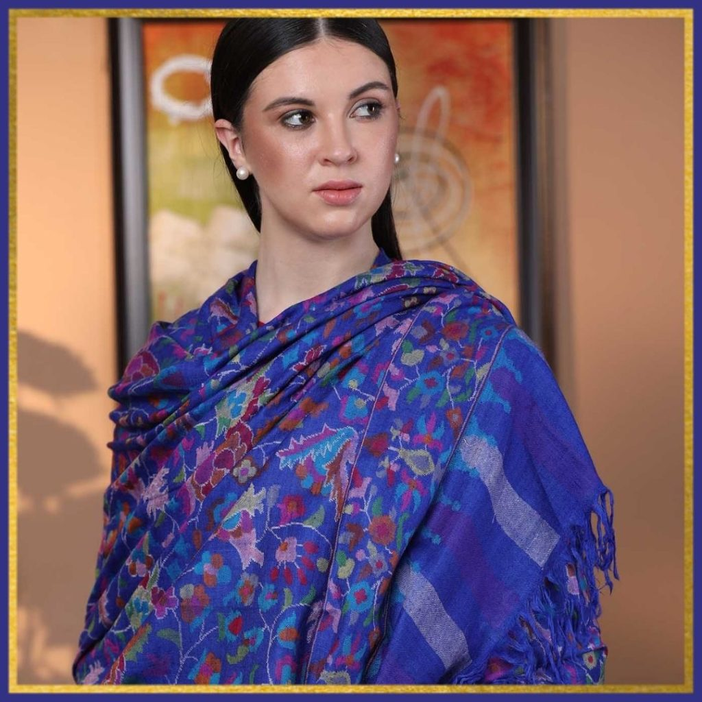 Lapis Blue Kani Pashmina Shawl