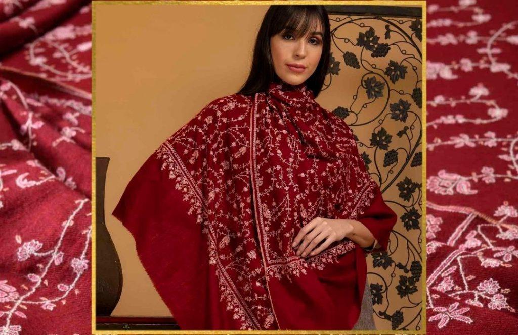 Wedding Favors - Jaali Embroidered Pashmina Shawl